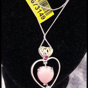 Jewelry - Peruvian pink opal, Ruby 14K gold necklace